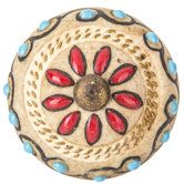Glazed Floral Medallion Knob